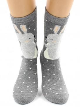 Носки Hobby Line HOBBY 8845-3 носки махровые Зайки на сером
