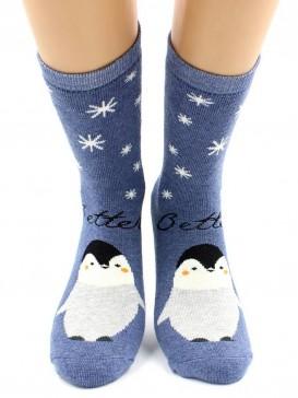 Носки Hobby Line HOBBY 8845-5 махра внутри Пингвины на синем