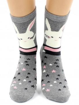 Носки Hobby Line HOBBY 8845-8 носки махровые Зайка на сером