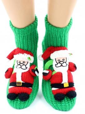Носки Hobby Line HOBBY 067 носки вязаные АВС Санта-Клаус на зеленом