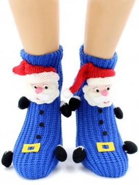 Носки Hobby Line HOBBY 077-1 носки вязаные АВС Дед Мороз на синем