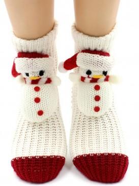 Носки Hobby Line HOBBY 085 вязаные АВС Снеговик на белом