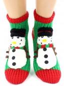 Носки Hobby Line HOBBY 085-1 носки вязаные АВС Снеговик на зеленом