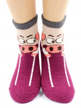 Носки Hobby Line HOBBY 2202-36 носки махровые-пенка Хрюшка бордовая