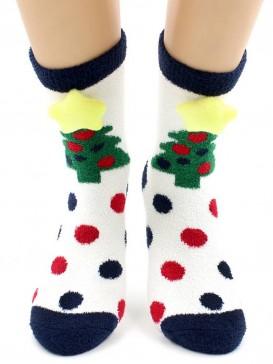 Носки Hobby Line HOBBY 2222-3 махровые-пенка Новогодние, елочки 3Д