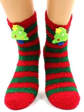 Носки Hobby Line HOBBY 044-1 носки махровые-травка  Новогодние, Ёлочка 3Д