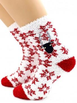 Носки Hobby Line HOBBY 045-5 носки махровые-травка  Олень на снежинках