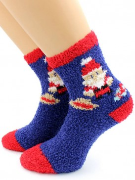 Носки Hobby Line HOBBY 051-3 носки махровые-травка Дед Мороз