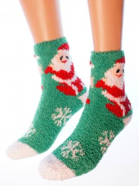 Носки Hobby Line HOBBY 053-2 носки махровые-травка Дед Мороз с мешком подарков