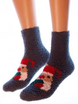 Носки Hobby Line HOBBY 053-5 носки махровые-травка Дед Мороз с сердцем