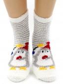 Носки Hobby Line HOBBY 059-2 носки махровые-травка Пингвин на белом в серую полоску
