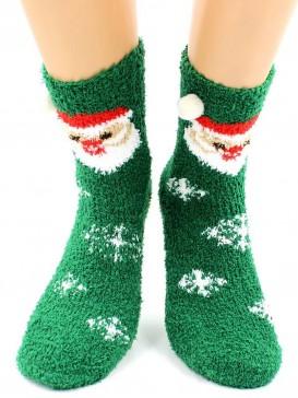 Носки Hobby Line HOBBY 068-6 носки махровые-травка Дед Мороз и шарики 3Д