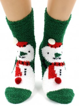 Носки Hobby Line HOBBY 068-8 носки махровые-травка Снеговик на зеленом и шарики 3Д