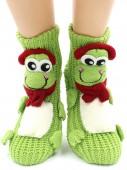 Носки Hobby Line HOBBY 091 носки вязаные АВС Лягушка в наушниках на зеленом