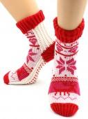 Носки Hobby Line HOBBY 098 носки вязаные Снежинки белый с красным манжет