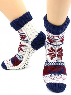 Носки Hobby Line HOBBY 099 носки вязаные Снежинки белый с синим манжет