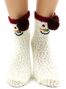 Носки Hobby Line HOBBY 2370-1 носки махровые буклированные Снеговик 3Д на белом