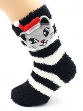 Носки Hobby Line HOBBY 3328 детские махровые травка Котик 3Д