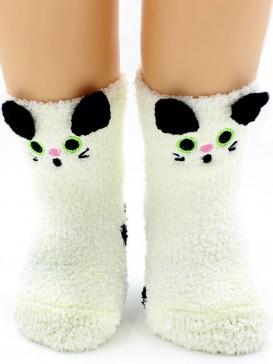 Носки Hobby Line HOBBY 3317 носки детские махровые травка Белая киска 3Д