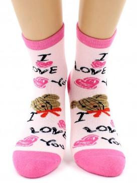 Носки Hobby Line HOBBY 3609-3 детские махровые внутри Мишка I love you