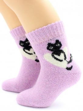 Носки Hobby Line HOBBY 7625 носки детские ангора, махра внутри, кошка с сердцем