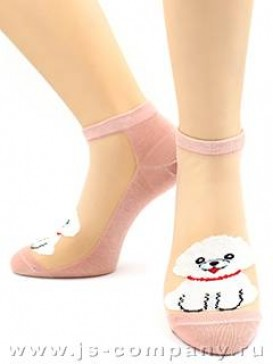 Носки Hobby Line HOBBY 2571-1 носки укороченные спереди кошечки-собачки на сеточке