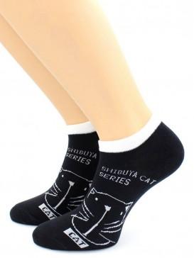 Носки Hobby Line HOBBY 507-4 укороченные женские х/б, Кот на черном, белая резинка