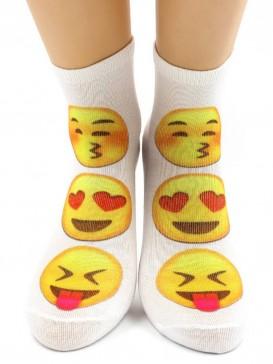 Носки Hobby Line HOBBY 515-2 носки укороченные женские х/б, смайлик Поцелуй/ Влюбленный/ Дразнить