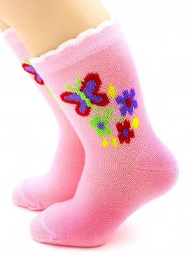 Носки Hobby Line HOBBY 3536 детские х/б, для девочек, Бабочка с цветочками