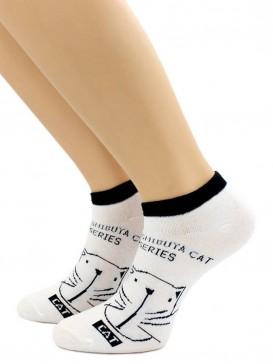 Носки Hobby Line HOBBY 507-3 носки укороченные женские х/б, Кот на белом, черная резинка