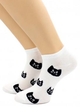 Носки Hobby Line HOBBY 507-8 носки укороченные женские х/б, Кошечки на белом
