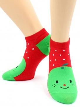 Носки Hobby Line HOBBY 530-08 носки укороченные женские х/б, Яблоко на красном