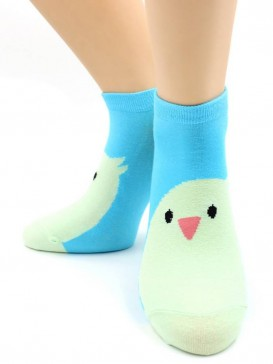 Носки Hobby Line HOBBY 531-19 носки укороченные женские х/б, Птенчик на голубом