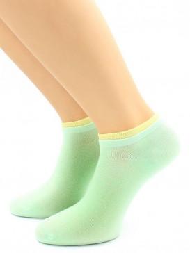 Носки Hobby Line HOBBY 561-06 укороченные женские х/б, нефритовый с зеленой резинкой
