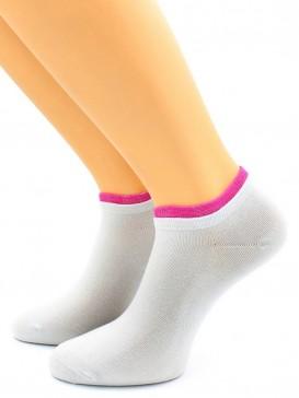 Носки Hobby Line HOBBY 561-07 носки укороченные женские х/б, серый с малиновой резинкой