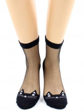 Носки Hobby Line HOBBY S1224-11 стеклянные высокие, киса спереди и сзади