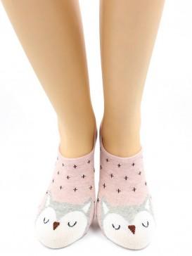 Носки Hobby Line HOBBY 17-20 невидимые женские х/б, розовая сова