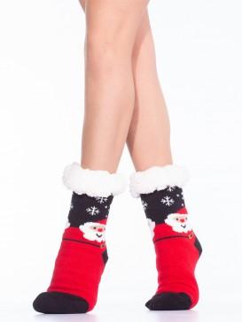Носки Hobby Line HOBBY 30591 женские носки с мехом внутри Дед Мороз и снежинки