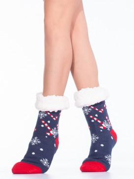 Носки Hobby Line HOBBY 30592 женские носки с мехом внутри Candy cane
