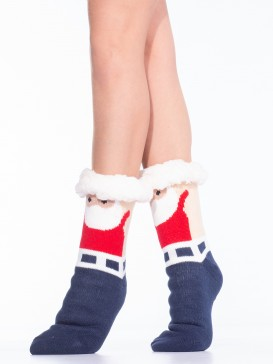 Носки Hobby Line HOBBY 30591-3 женские носки с мехом внутри Дед Мороз