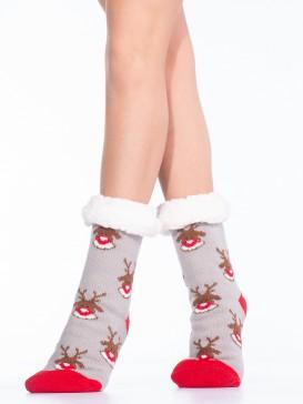 Носки Hobby Line HOBBY 30589-9 женские носки с мехом внутри Мордочки оленя