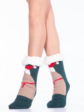 Носки Hobby Line HOBBY 30599-1 женские носки с мехом внутри Новогодний медведь