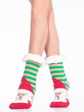 Носки Hobby Line HOBBY 30591-4 женские носки с мехом внутри Дед мороз в полоску