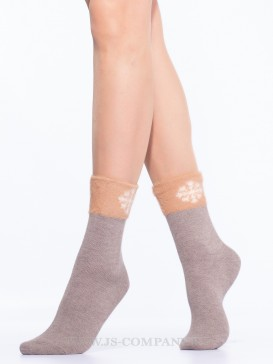 Носки Hobby Line HOBBY 7806 носки женские с пухом с резинкой из искусств.соболя и снежинкой
