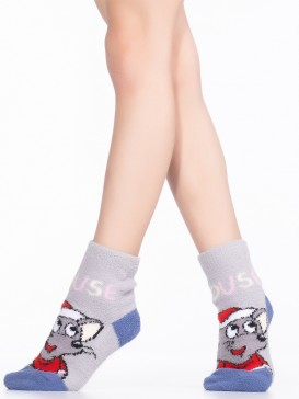 Носки Hobby Line HOBBY 3340-4 детские махровые пенка Мышка-Дед Мороз