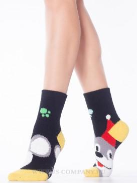 Носки Hobby Line HOBBY 2202-40-2 махровые-пенка новогодние Мышонок в Новогоднем колпаке