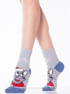 Носки Hobby Line HOBBY 2202-40-4 махровые-пенка новогодние Мышка Дед Мороз