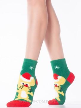 Носки Hobby Line HOBBY 2202-40-8 махровые-пенка новогодние Мышка в Рождественском колпаке