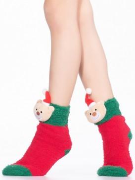 Носки Hobby Line HOBBY 3331 детские махровые травка, новогодние, Мишка