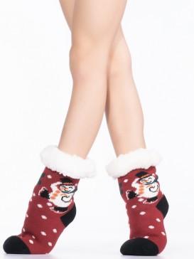 Носки Hobby Line HOBBY 30769-1 детские носки с мехом внутри Снеговик на коньках